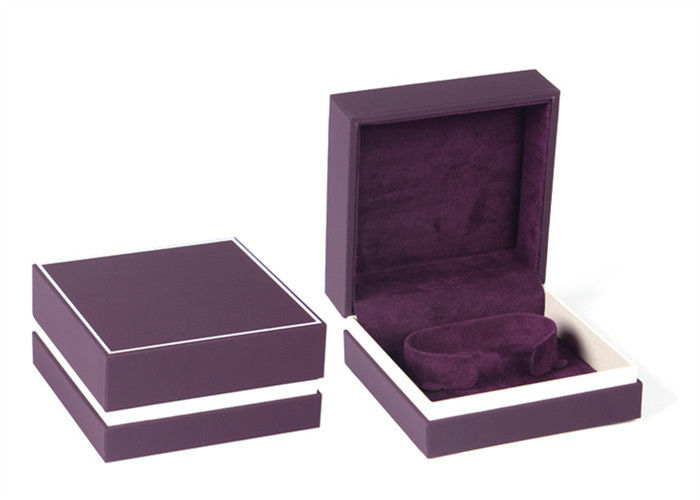 Purple Plastic Jewelry Box Covered Velvet Material For Gift Packaging Custom Logo