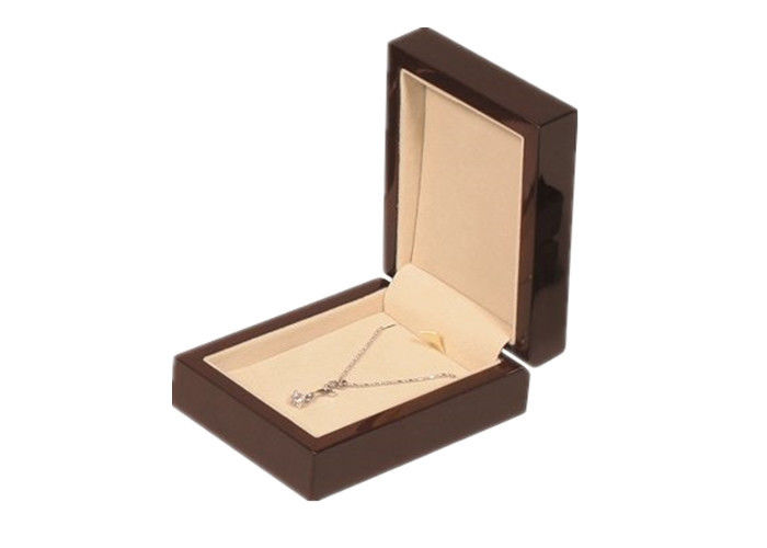 Custom Hinge Paper Wooden Jewelry Box High End Style For Packaging Necklace