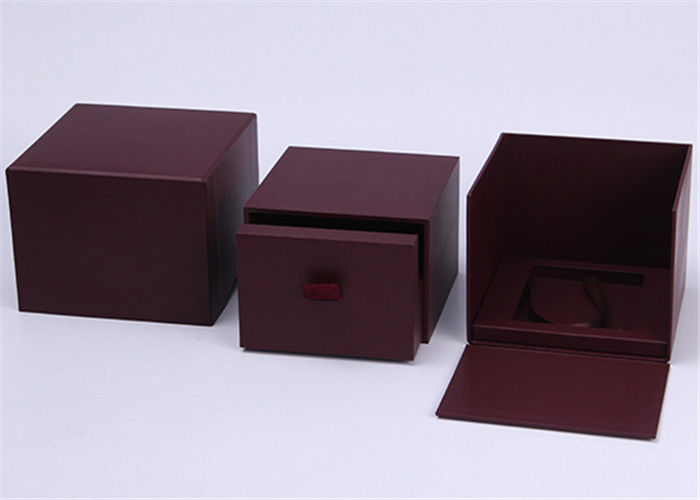Dark Red Paper Wooden Watch Box High End Rigid Hot Stamping / Printing Logol