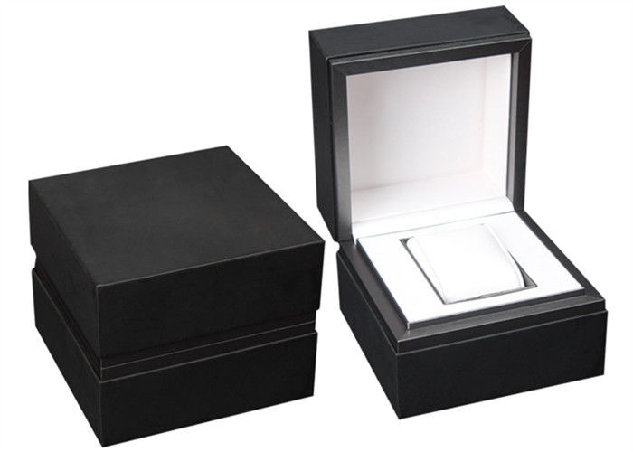 Luxury PU Leather Wooden Watch Box Dustproof Eco - Friendly With Metal Frame