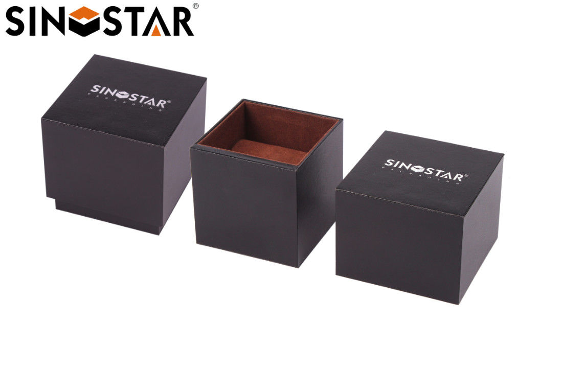 Black MDF Gift Single Watch Box  Packaging Screen Printing Recyclable With Pillow