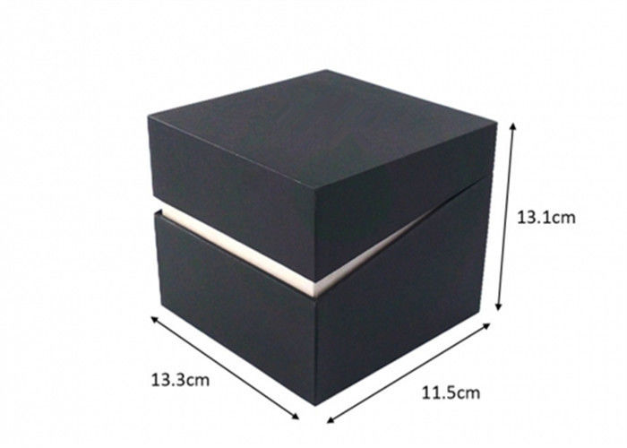 Black Cardboard Jewelry Boxes , Handmade Recyclable Gift Box For Wrist Watch