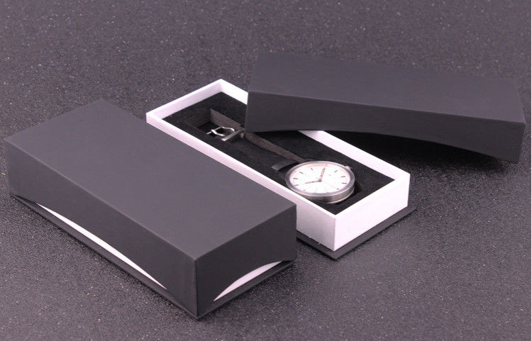 Luxury Paper  Wrist Watch Packaging Box , Black Personalized Mens Watch Box