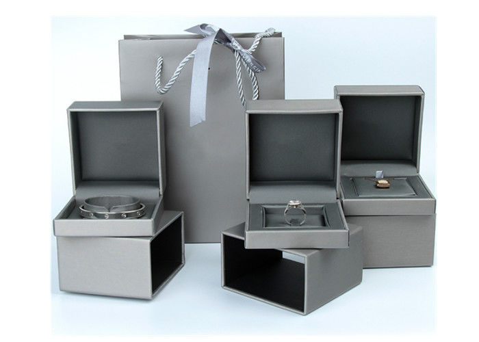 Gift Packaging Women'S Jewelry Box  , Fashional Grey Leather Jewelry Case